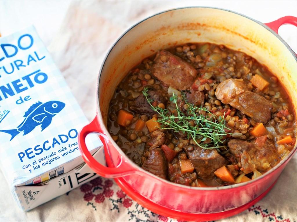 塩豚とレンズ豆のお魚スープ煮込み